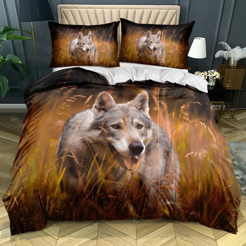 Wolf Comforter Covers Design 3D Bianco trapunta copertina set e cuscino Slips King Queen Single Doppia Doppia Dimensioni 140 * 200cm Bedding per animali