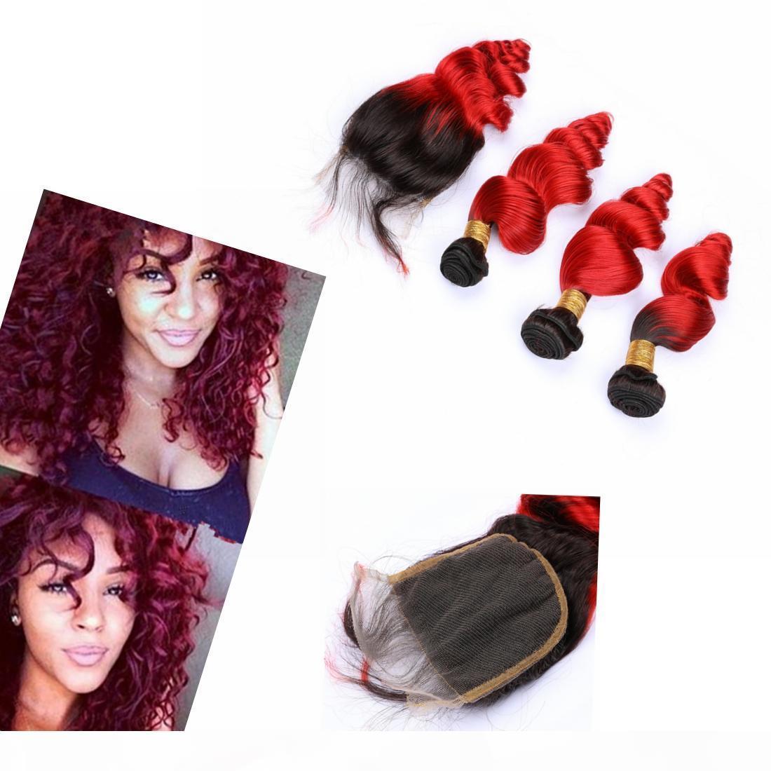 Abbassi di capelli ondulati di Ombre con chiusura capelli indiani # 1b #red largo ondulato ondulato capelli tessere con chiusura