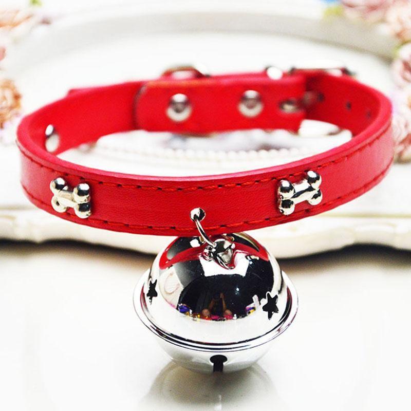 PU-Leder Katzenhalsband mit großen Glocken Adjustable-Süßigkeit-Farben-Welpen-Kätzchen Halsbänder Halskette für kleine Hunde Katzen Tierzubehör