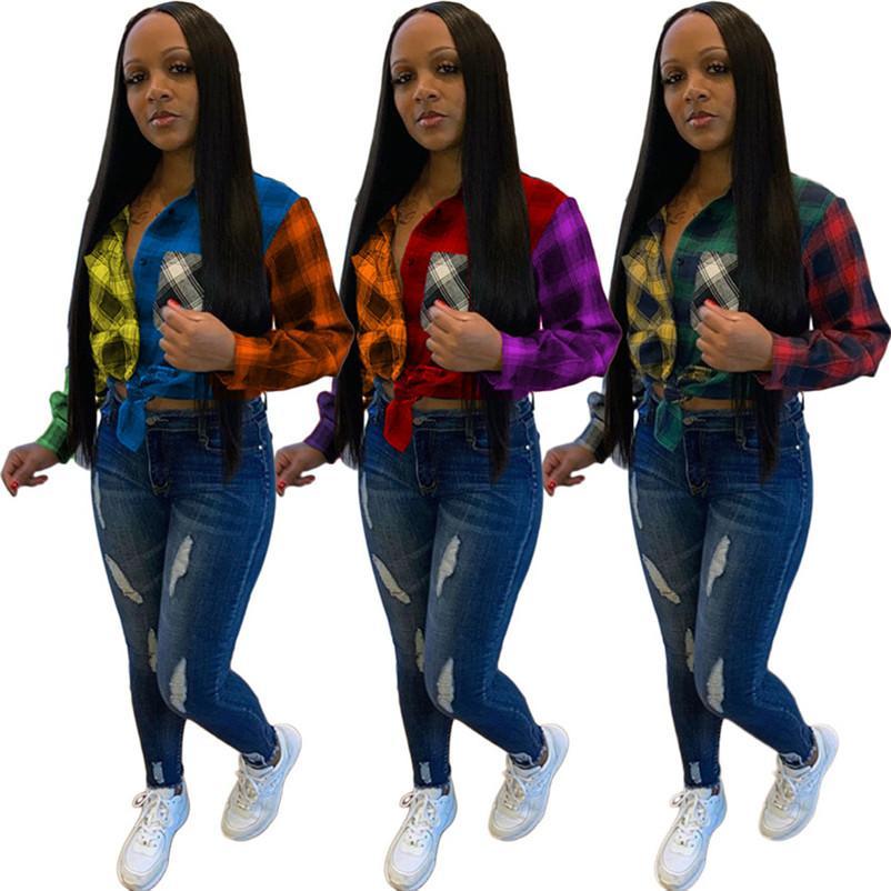 أزياء المرأة بلايز بلوزات منقوشة خليط اللون طويل الأكمام بالاضافة الى حجم الخريف سيدة نساء قميص عارضة أنثى بلوزة 3 ألوان F101906