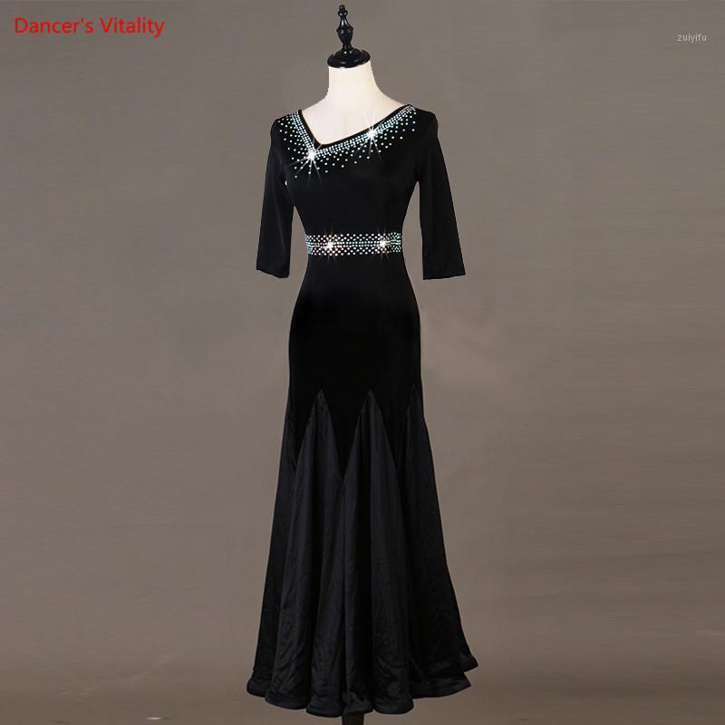 Sahne Giyim Balo Salonu Waltz Elbiseler Dans Yarışması Elbise Standart Özelleştirilmiş Boyutu Kadınlar Dress1