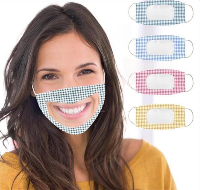 2020 nouveaux masques en langue lèvres étourdissent preuve claire mode masque de couverture face PET bouche visable doux lavable masques resuable
