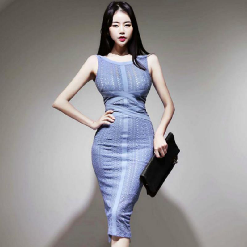 Partido pano de 2.020 Verão Coreia do Midi vestido sem mangas Vest Sólidos Bodycon Bainha Sexy Full Lace Vestidos Mulheres