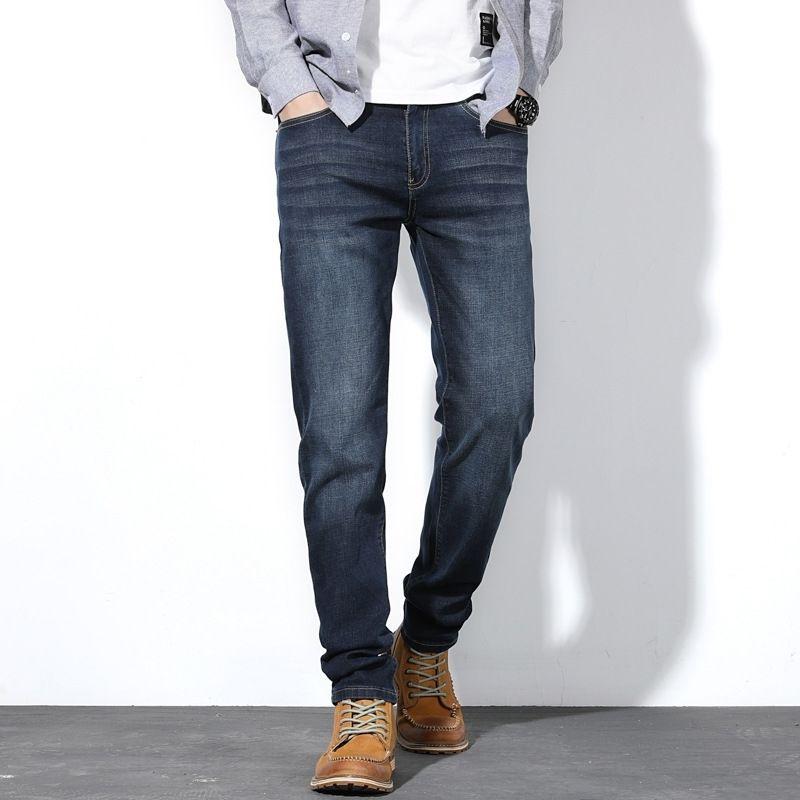 Automne Hommes Jeans Fashion Fashion Street Loose Bleu Denim Pantalon Classic Hommes Plus Taille28 -44 46 48 Y200115