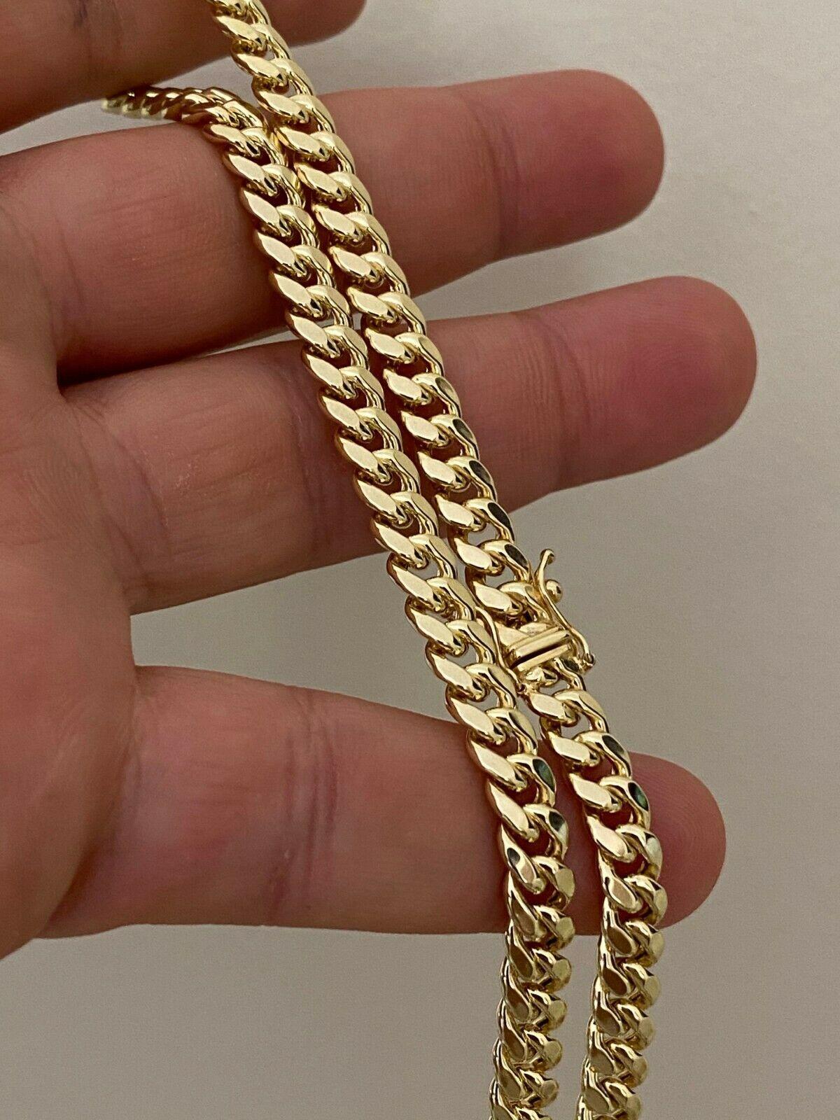 Real 10k amarelo banhado a ouro Mens Miami cubana Chain Link Colar de 6mm de espessura caixa do fechamento