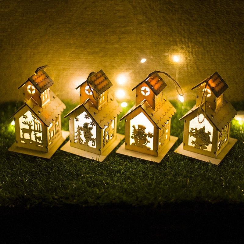 Neujahr Ornamente LED-Licht Chalet Hotel Bar Weihnachtsbaum Dekorationen Weihnachten Holz Anhänger für Home o7Y1 #