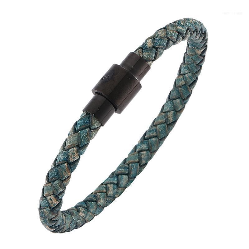 Moda uomo gioielli verde intrecciato in pelle in pelle braccialetto braccialetto in acciaio inox magnete fibbia vintage uomo cinturino in pelle SP0255GR1