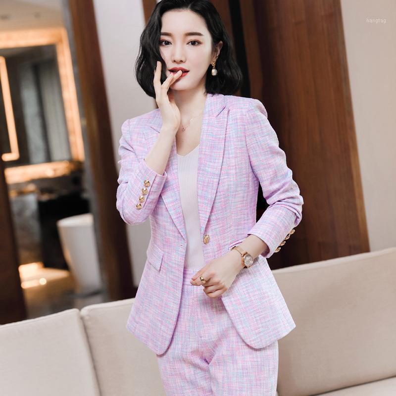 Hosen Anzug Eleganter Hahnstooth Full Sleeve Jacke Lange Hose Business Anzüge Damen 4XL Plus Größe Weibliche Blazer Hosen Set1