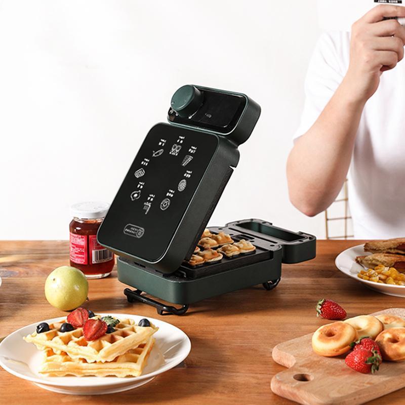 صانع شطيرة كهربائية توقيت الهراء صانع محمصة الخبز متعدد الصور الفطور آلة ساندوشيرا كعكة الخبز 600 واط
