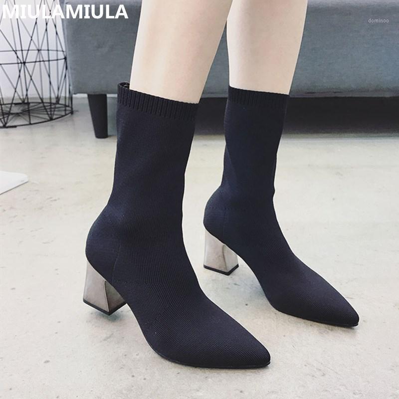 2020 зимняя корейская мода стрейч ткань женская короткая лодыжка ботинки сексуальные заостренные высокие каблуки сокофи шерстяные носки сапоги леди обувь1