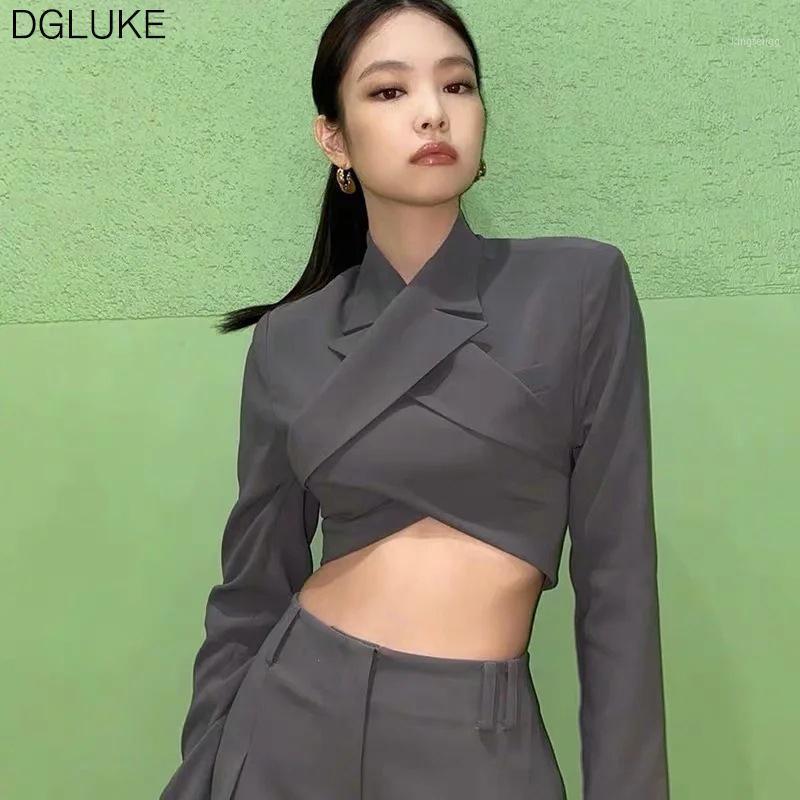 Dgluke 2020 Blackpink Sexy Blazer costume Blazer recadré à manches longues et pantalons de taille haute Set Ensemble de blazeurs gris deux pièces