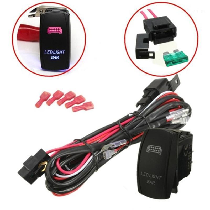Outros Sistema de Iluminação 1 Set Universal LED Work Light Bar Laser Rocker Switch Harness Kit Loom w / 40A Relay Fusível para Carros Caminhão Motorc
