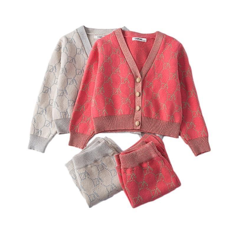 Meninas Winter Roupas Conjunto de manga longa camisola malha cardigan malha saia roupa terno roupa bebê roupas meninas roupas conjunto 20116