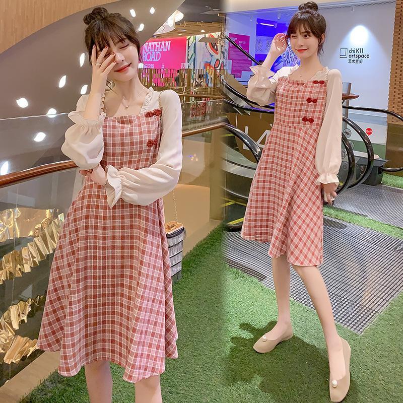 6876 # 2021 Frühling Koreanische Mode Umstandskleid Süß Chic Plaid Kleidung Für Schwangere Damen Slim Elegant Schwangerschaftskleid