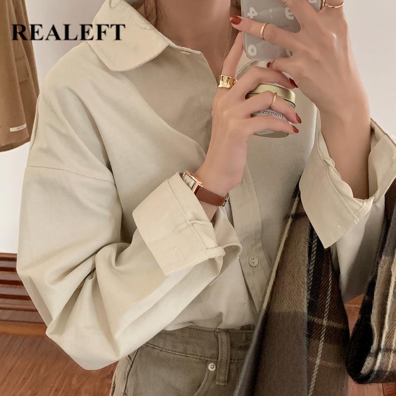 Reale elegante Blusa de mujer sólida Casual Camisas sueltas femeninas Funda larga Tops Tops Damas 2021 Nuevo verano de primavera