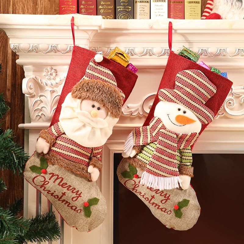 Мультфильм Принадлежность для Рождества подарочных пакетов милых рождественских украшений кулон подарочных сумки украшение Больших Рождественских носки Dropshipping F6101