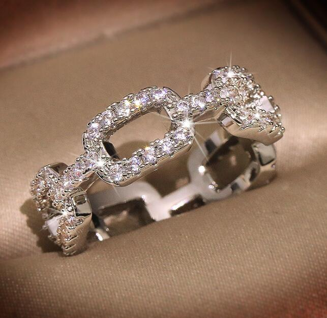 Anelli progettista caldo di marca moda per gioielli di cristallo anello donne splendente di diamante della CZ pietra per partito