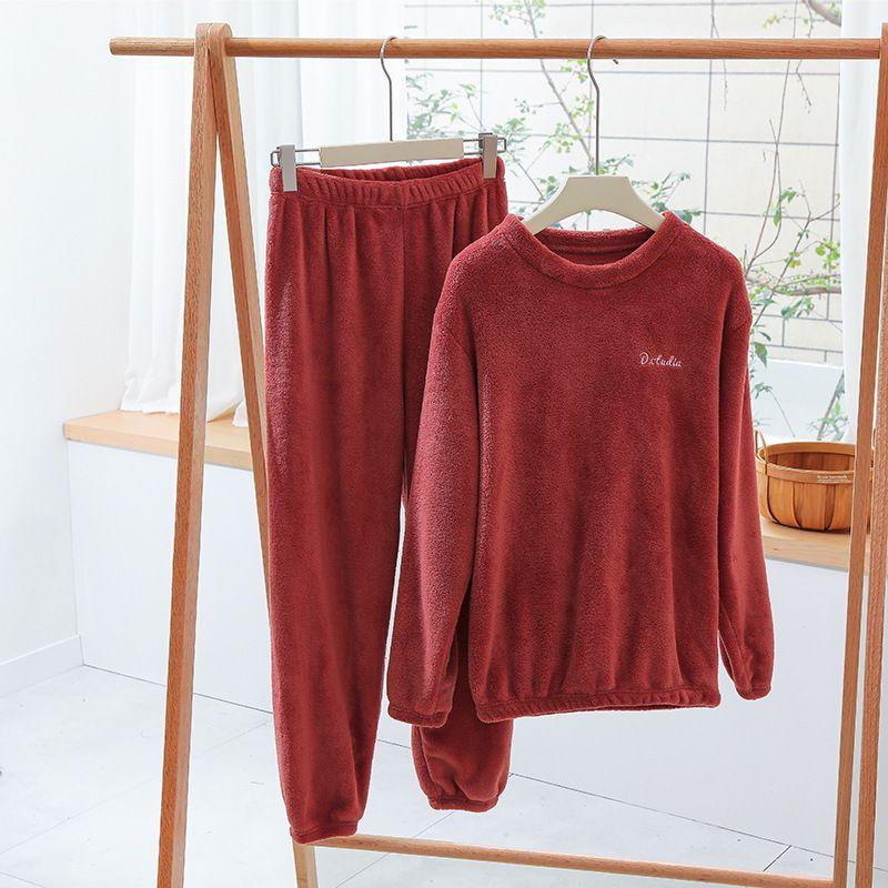 Kadınlar için 2020 Kalın Sıcak Kış Pijama Mercan Kadife Ev Takım Elbise Mektup Nakış Pijama Kadın Gevşek Uzun Kollu Ev Teknikleri W1225