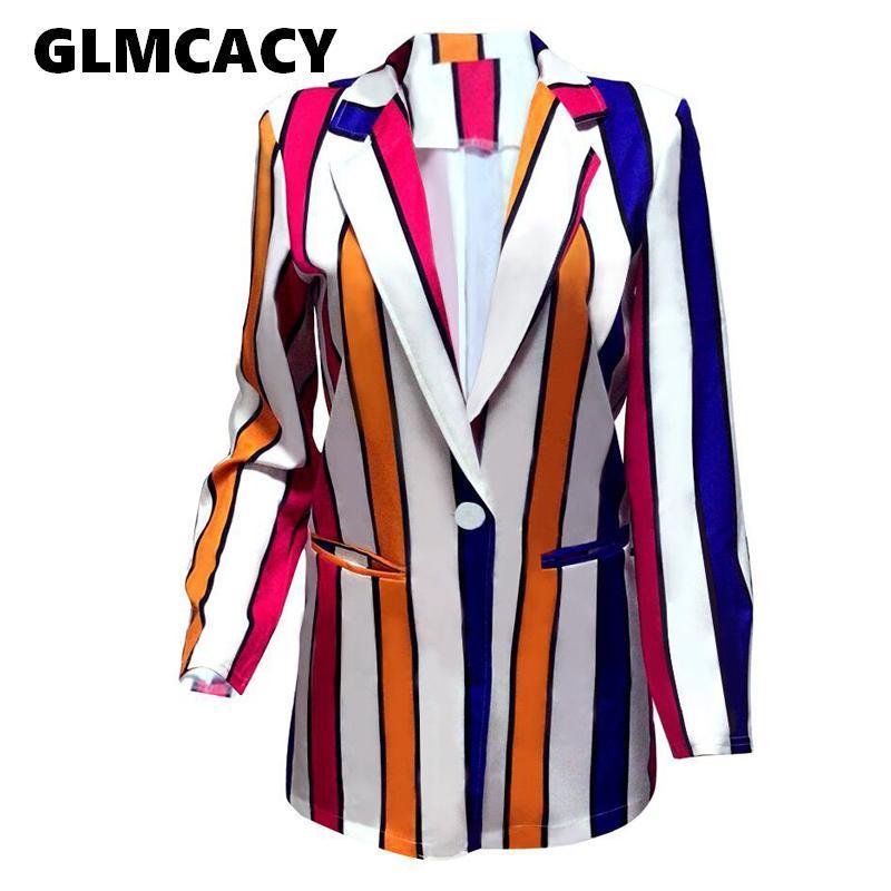 Kadınlar Çizgili Blazers Sonbahar Uzun Kollu Bayan Ceket Şık Çalışma Düğmeler İş Suits Spor Coats Streetwear C 1008 Tops