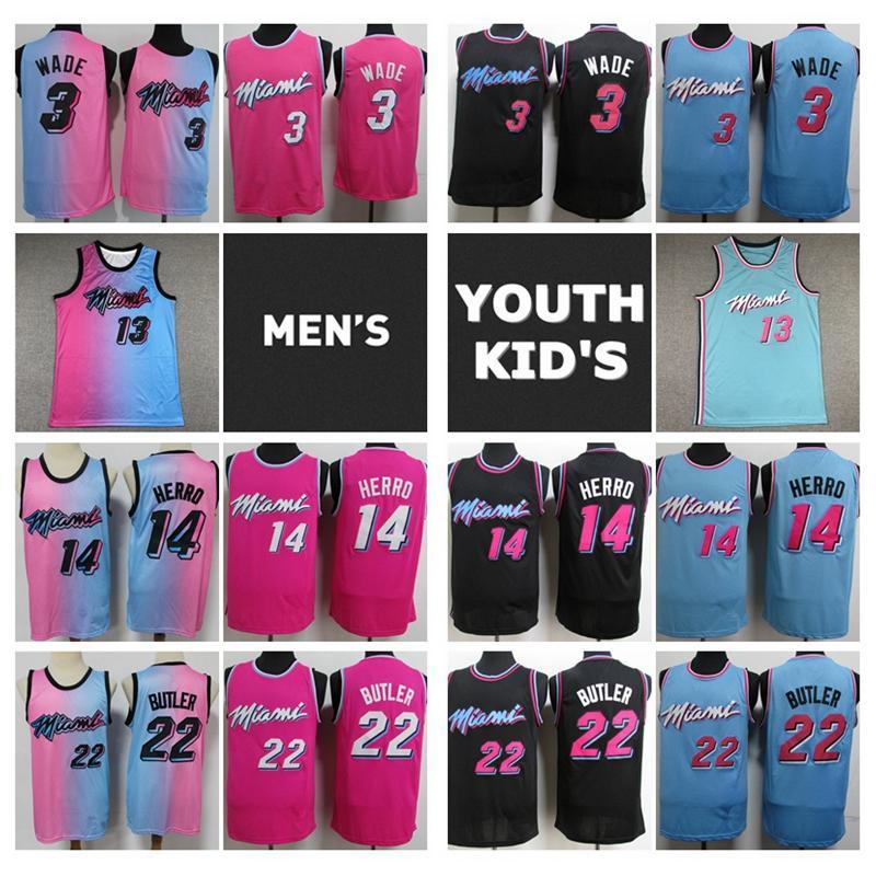 2021 Hombres jóvenes niños Dwyane 3 Wade 13 BAM Adebayo 14 Tyler Herro Jimmy 22 Butler Swingman Basketball Jersey cosido Miamih Jersey con logo