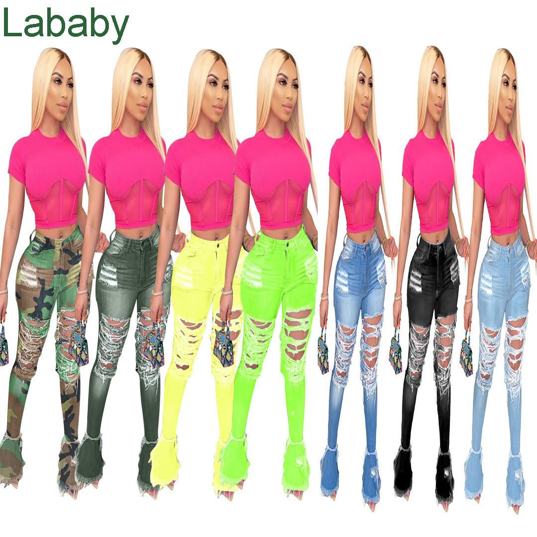 Women High Waisted Hole Skinny Denim Jeans Stretch Slim Pants Calf Length Jeans Bell-bottomed Pants Ladies Fashion Women Trousers C621