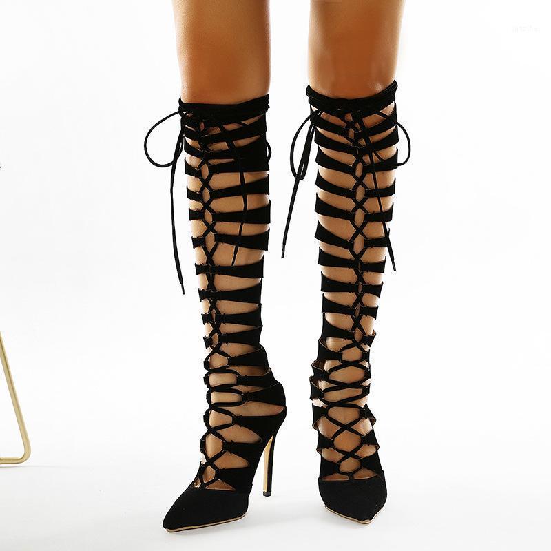 Çizmeler Kadın Ayakkabı Uyluk Yüksek Topuklu Lace Up Sivri Burun Bayanlar Sandalet Yaz Knepe1 Üzerinde Stiletto Oynamak