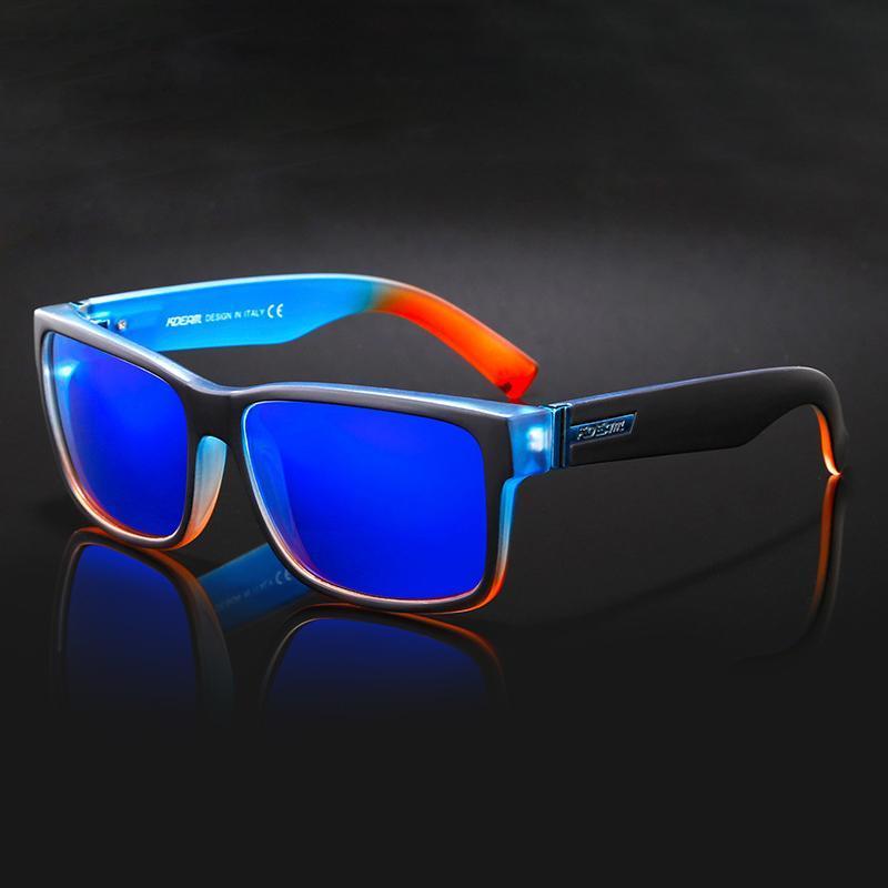 Nuances bleue avec lunettes de soleil polarisé miroir miroir marque kdeam voiture box omkdj rectangle soleil lunettes extérieur sport gnkik