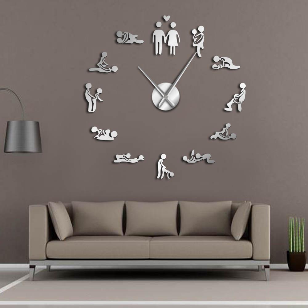독신 게임 섹시한 카마 수트라 DIY 성인 룸 장식 거대한 벽 시계 섹스 사랑 위치 틀없는 큰 벽 시계 예술 1008
