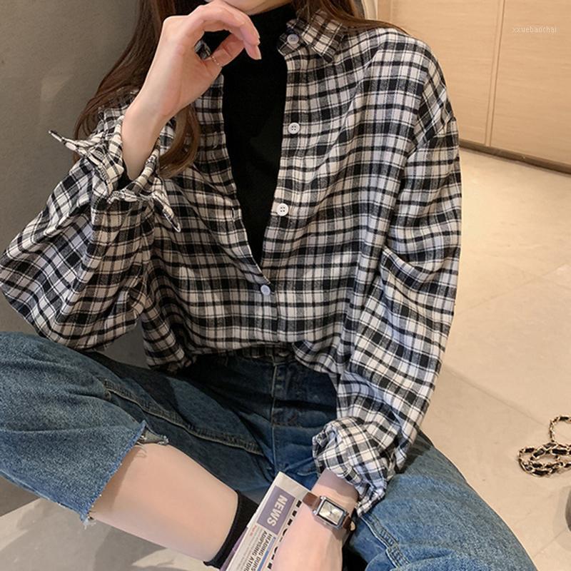 Рубашки женские блузки 2021 Осенняя мода женская клетчатая рубашка рубашка шикарная блузка длинный рукав женский повседневная печать свободно хлопковые топы Blusas # 801