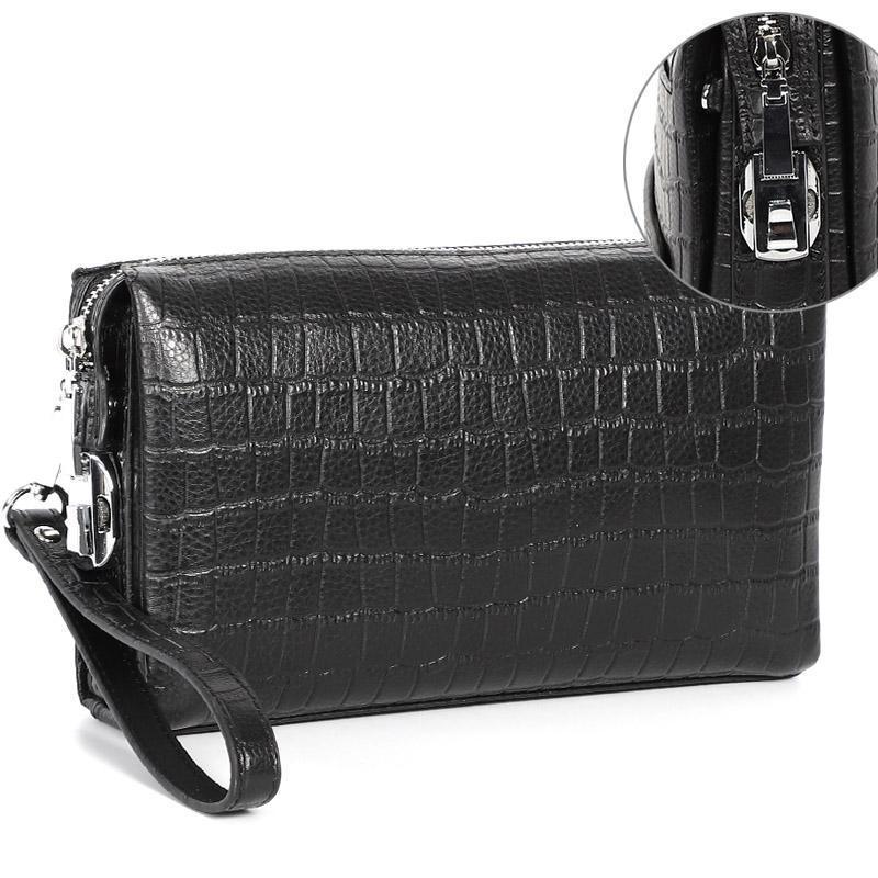 Portafogli Moda uomo Coded Block Genuine Pelle Zipper Zipper Portafoglio lungo con protezione password Pochette Anti-Theft Maschio