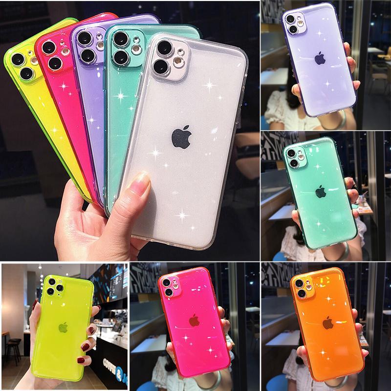 Сияющий блеск порошок TPU чехол для телефона для iPhone 12 11 Pro Max XR XS 7 8 плюс 12 мини прозрачный телефон защитный чехол