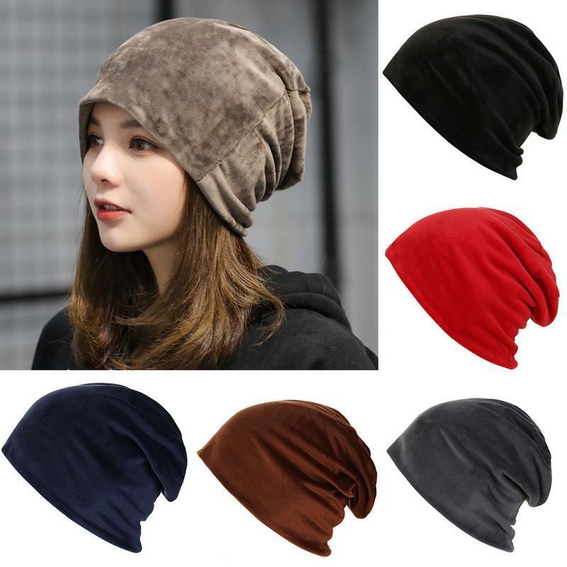 Mode 2020 New Automne Mode chaud tricot intérieur en polaire Slouchy Casquettes femme chapeaux d'hiver simple
