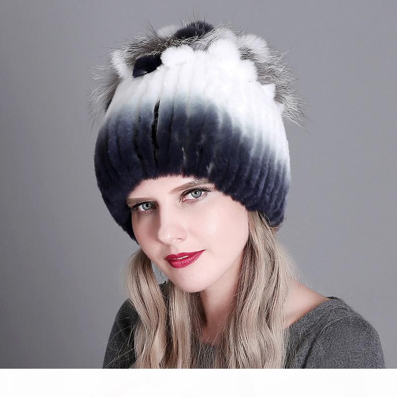 Klasik Beanie Rex Tavşan Kürk Örme Kadın Gerçek Kürk Şapka Yastıklı Sonbahar Ve Kış Sıcak Bayanlar Isınma Renkli Örme Şapkalar
