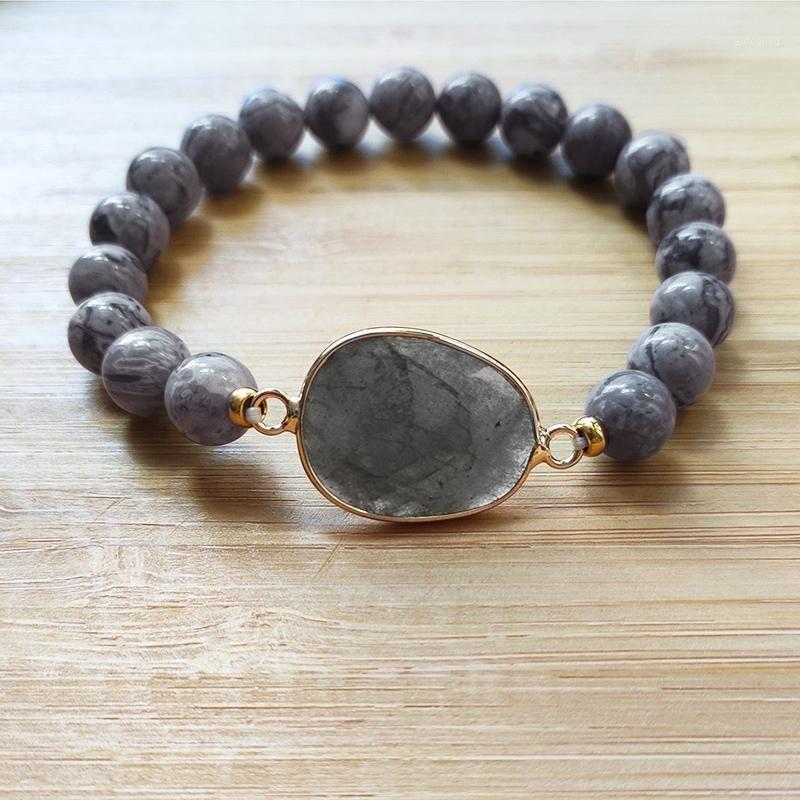 Vintage clásico piedra natural moda abalorios brazalete hombre accesorios de brazo salvaje hechos a mano gris brazalete elástico brazalete para mujeres1