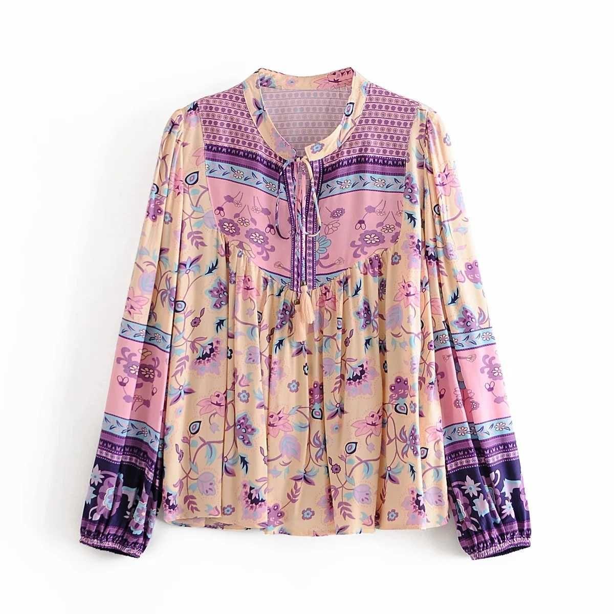 2020 Frauen Blusen Herbst Neue Frauen Kleid Positionieren Druck Passende Farbe Quaste Kleine Hemd hohe Taille Schlanker Schnürrock