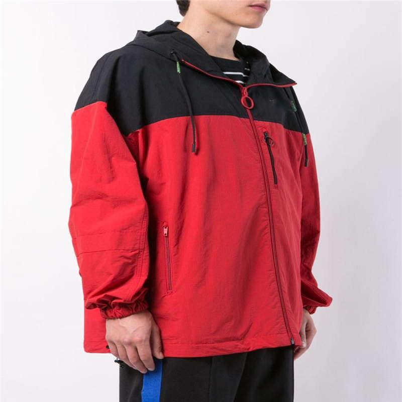Sonbahar yeni çift ceket sokak stili moda katlanabilir kırmızı ve siyah dikiş kapüşonlu ceket rüzgar ve su geçirmez M-2XL