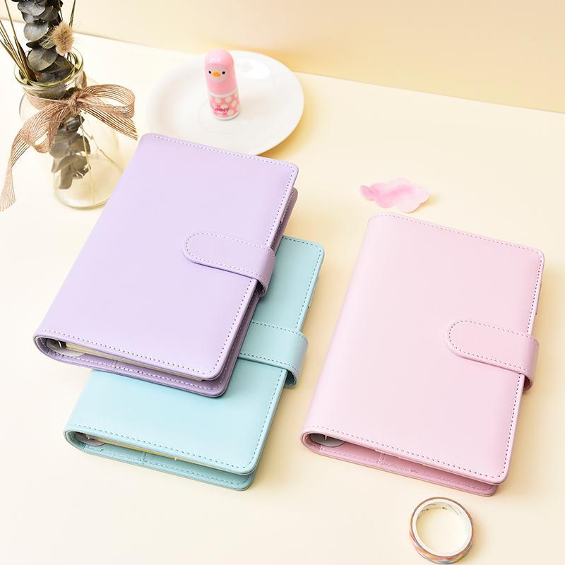 Makaron Farbe A5 A6 6 Ring Bindemittel PU Clip-on Notebook Leder Lose Blatt Notebook Cover Notebooks Journal Kawaii Schreibwaren