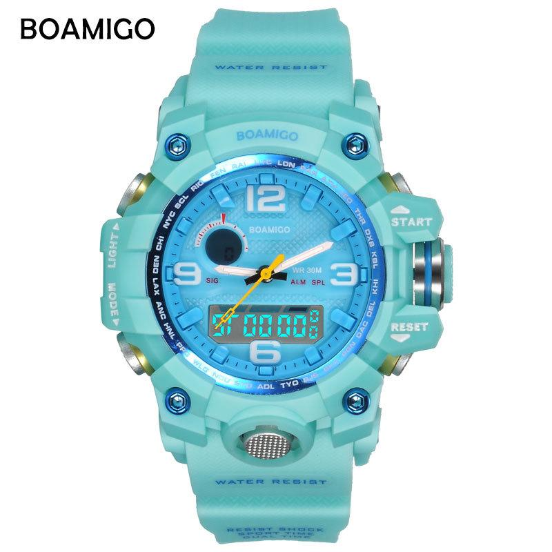BOAMIGO brand women watches dual display sports watches fashion ladies LED Digital wrist watches blue 30m water resistant clockQ0108
