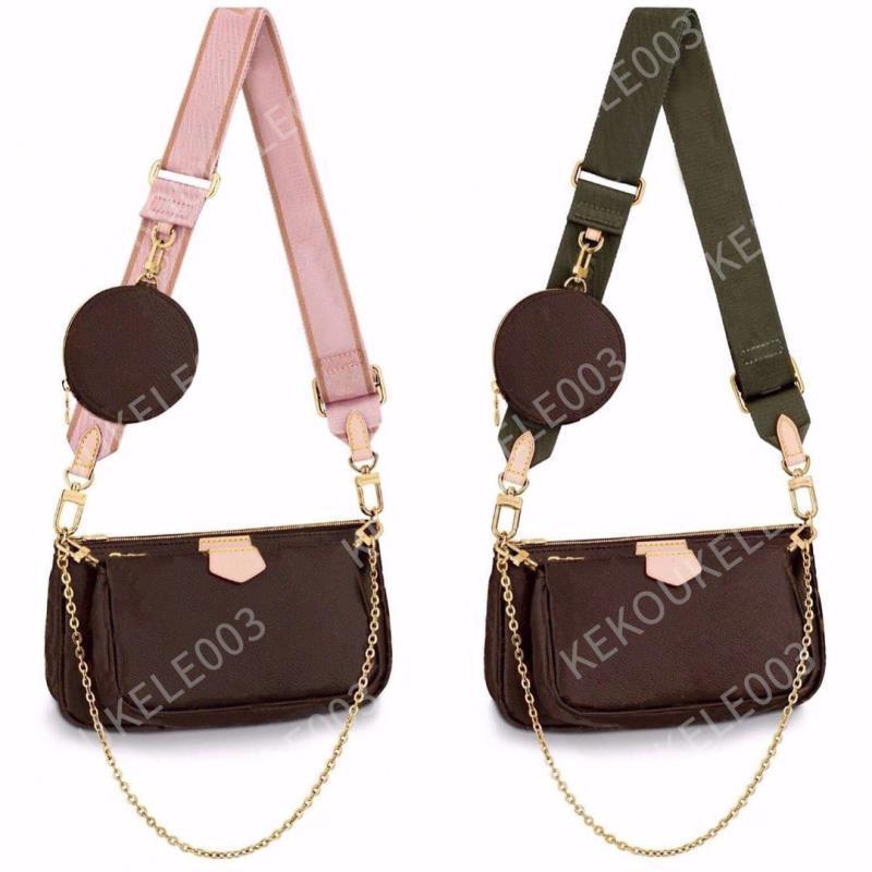 3 개 세트 좋아하는 멀티 포 셰트 액세서리 여성 크로스 바디 지갑 메신저 가방 핸드백 꽃 디자이너 어깨 레이디 가죽 가방