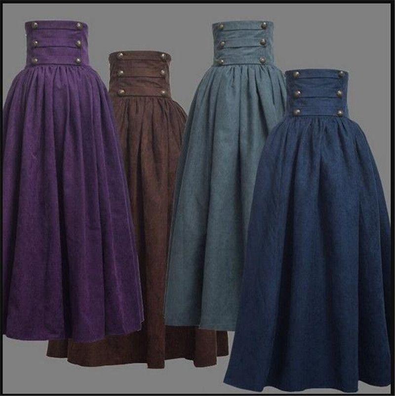 New Woman Medieval saia elegante Costumes Sólidos Hight cintura Idade Média Renascença balanço Vintage plissadas Saias na altura do joelho