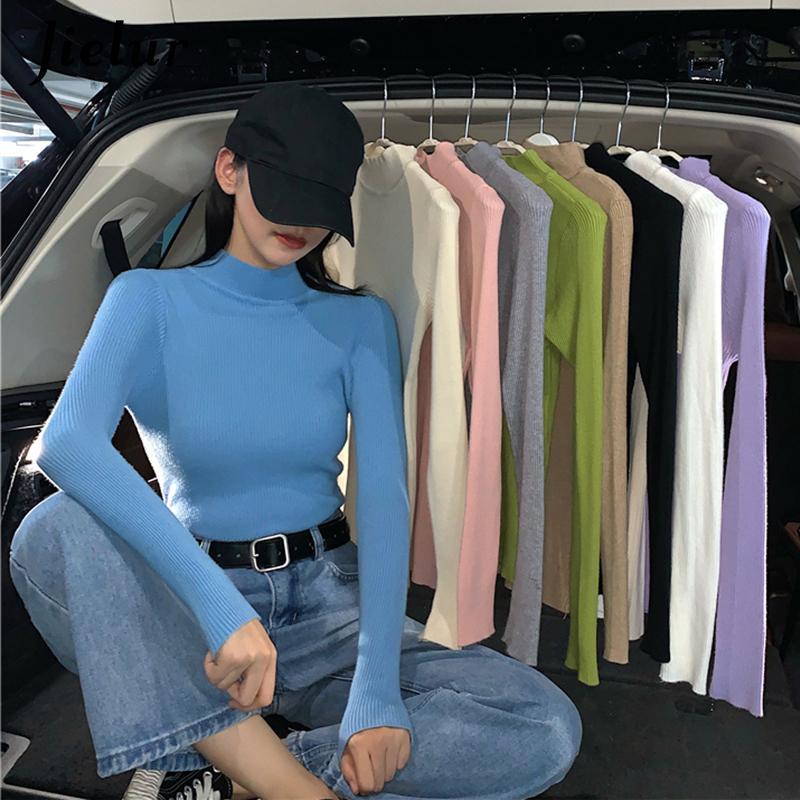 Jielur TurtleNECK maglioni a maglia donne autunno inverno inverno basic primer pullover di colore solido maglione coreano maglione slim-fit pullover lj201124