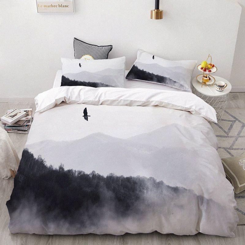 Rêve NS Beautiful Scenery Ocean Forest Home Textiles Literie Ensemble Reine Linge de lit Housse de couette Taie Consolateur Literie fille OHfE #