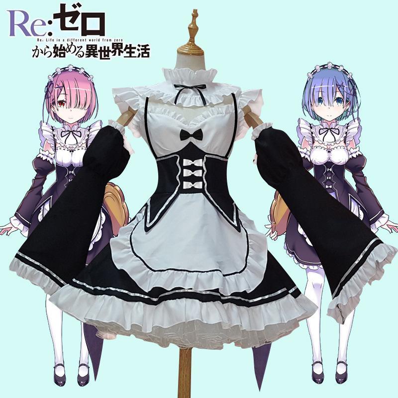 Ram / rem Cosplay Re: lo zero Kara Hajimeru Isekai Seikatsu Re Life in a Different World Kawaii sorelle costume serva Dress
