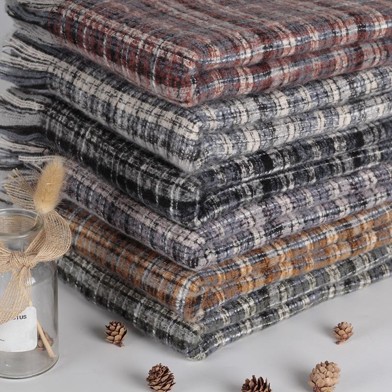 Лучшие продажи Женская зимняя длинная платка Британская проверка цвета контрастность имитация кашемировой площади шарф