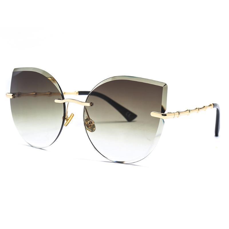 Lüks Kedi Göz Güneş Kadınlar 2020 Marka Tasarımcı Çerçevesiz Güneş Gözlükleri Kadın Pembe Kahverengi Metal Çerçeve Gözlük