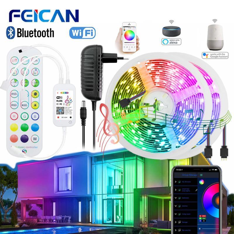 LED Strip WiFi / Bluetooth 12V Light Light 20m - Nastro a LED RGB impermeabile 5M funziona con luci flessibili Alexa per la decorazione