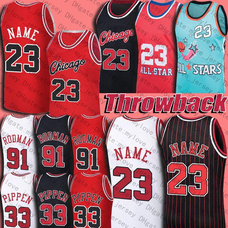 Retro 23 MJ Jersey 33 Scottie Pippen Jerseys 91 Dennis Rodman Basketball Jersey North Carolina Throwback Vintage Traumteam