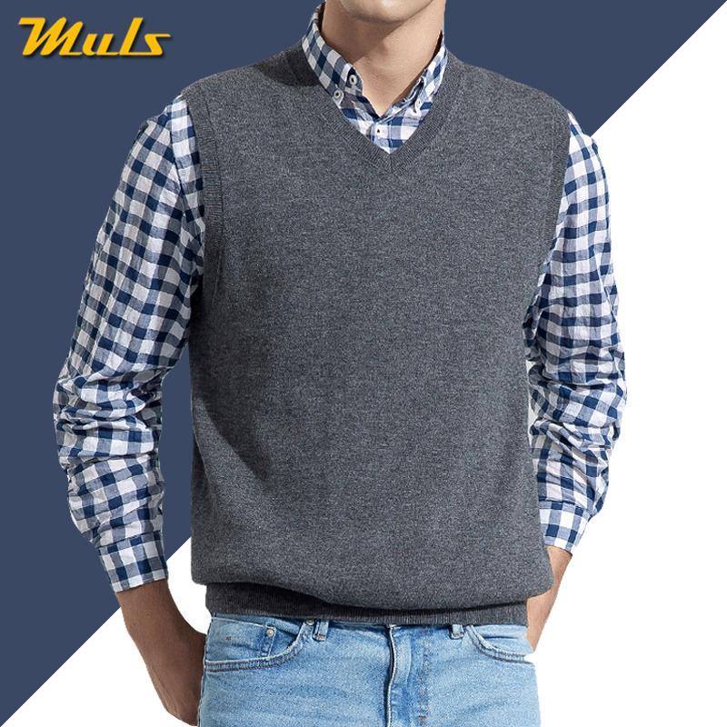Homens mangas Sweater Vest Masculino Outono Primavera de malha de algodão sólida Vest Sweater homem de negócios V Neck Top 2019 New Slim Fit 3XL