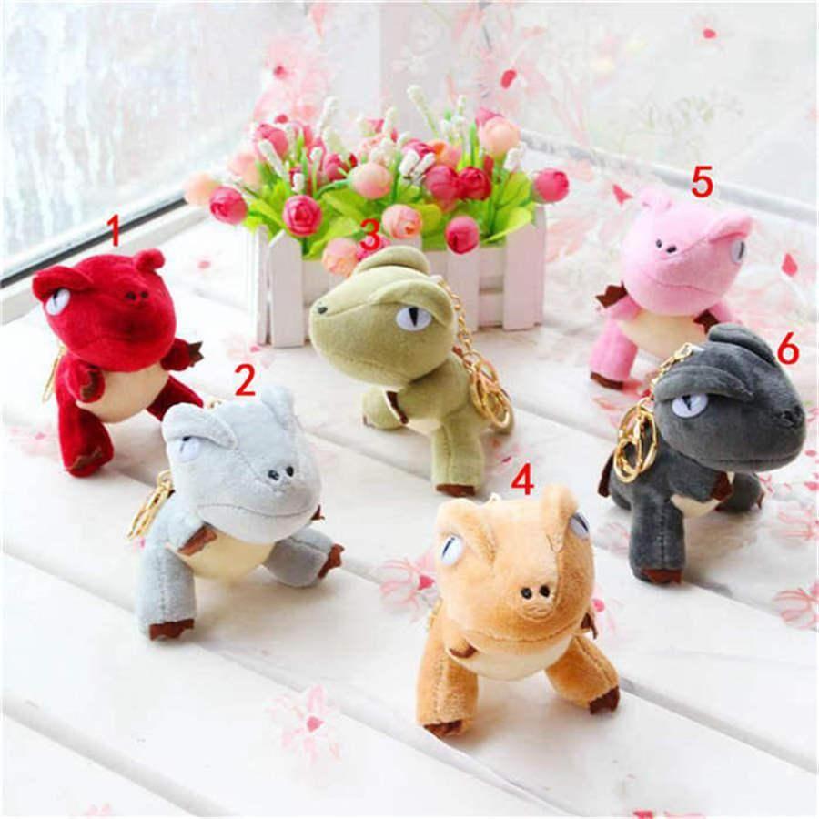 A001 Cute creative cartoon mini dinosaur keychain Stuffed Animals plush toy pendant keychain birthday gift for girlfriend