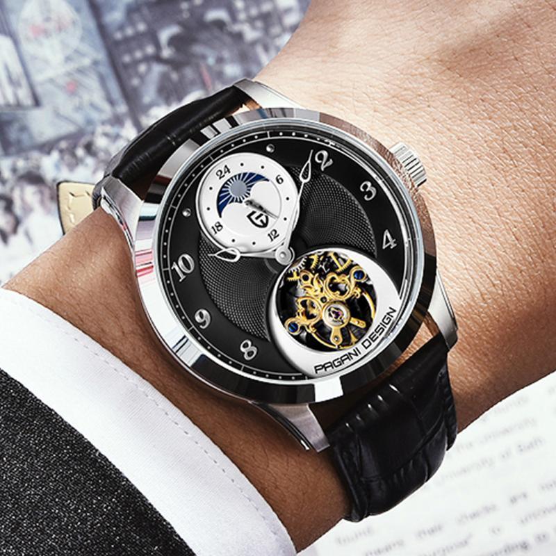 Pagani Design Мода Мужчины Механические Часы Роскошные Спортивные Часы Мужчины Кожаный Турбийон Автоматический 100 м Водонепроницаемый